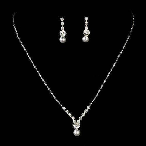 Bridal Wedding Jewelry Set Dainty Pearl Rhinestone