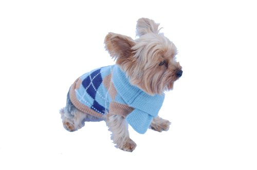 Anima Blue Knit Argyle Seater with Matching 14-Inch Scarf, X-Small (Yorkie Terrier Clothes compare prices)