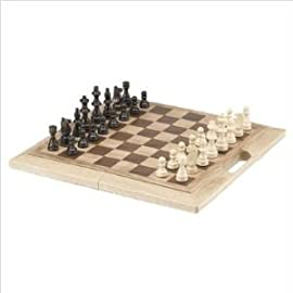 16 Inch Oak Folding Chess Set (Oversized)