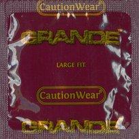 Caution Wear Grande Large Premium Latex Condoms with Silver Pocket/Travel Case (36)