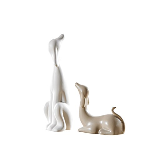 Pure.Lifestyle - Love Dogs(Set of 2) - Two Colors Ceramic Decoration Animals Figurine Porcelain Sculptures Statues Crafts Wedding Gifts Welcome Home Warming Christmas Gift Birthday Presents