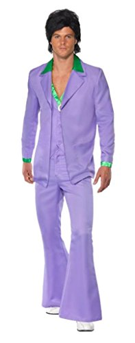 Smiffy's Lavender 1970's Suit Costume Jacket with Mock Shirt and