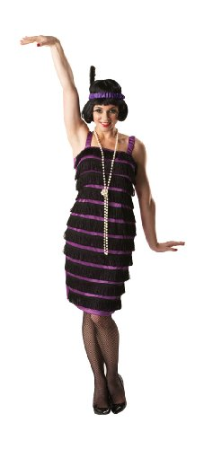 Adult Flapper M Black Dress 20s Ladies Fancy Dress Party Retro Costume Outfit