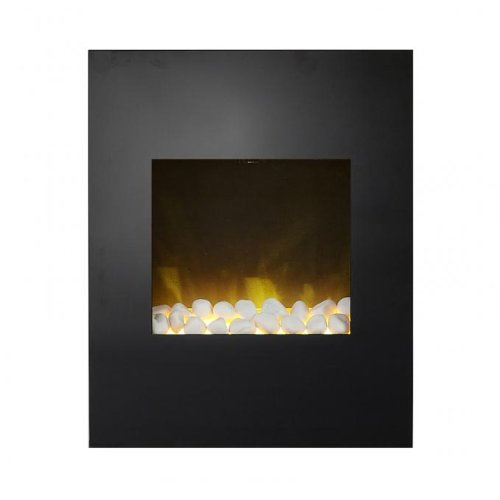 Adam Alexis Wall Mounted Electric Fire In Black Glass