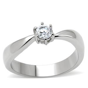 Stainless Steel Round Cut Cubic Zirconia Promise Ring SZ 5