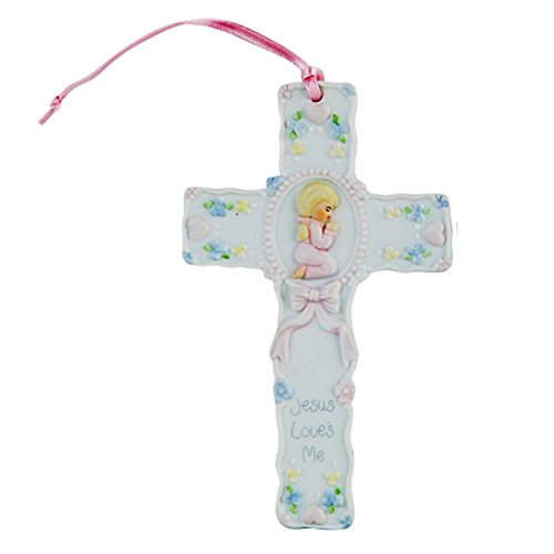 "Pacific Giftware Jesus Loves Me Prayer Little Girl Cross Statue Porcelain Bisque Finish Figurine, 5.5"" W - 1"