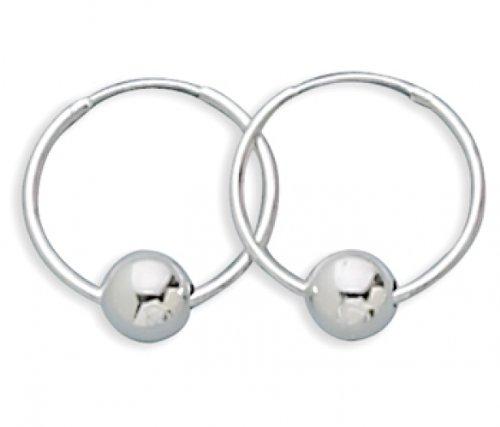 MMA Silver - 8mm Sterling Silver Bead on Hoop Earrings