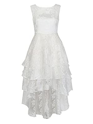 Persun Women's White Floral Print Gauze Panel Multi Layer Sleeveless Hi-lo Dress
