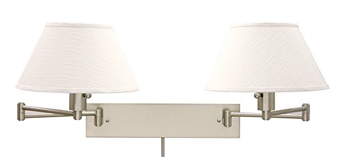 House Of Troy Ws14-2-52 Home/Office Collection Double Wall Sconce Swing, Satin Nickel With White Linen Hardback