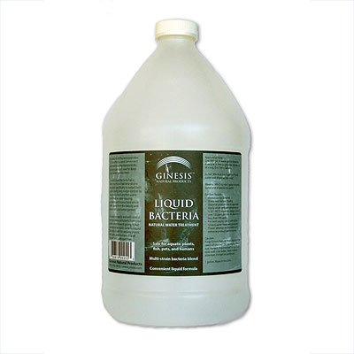 Ginesis Liquid Bacteria - Natural Water Treatment for Water Gardens, Ornamental Ponds, safe for fish, pets and humans. Removes waste, muck, sludge NATURALLY AND SAFELY for backyard ponds. 128oz Bottle (1 gallon)