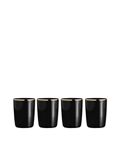 Jay Imports Set of 4 Onyx Old Fashioned Glasses, Black