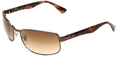 Ray-Ban RB3478 Rectangle Sunglasses 63 mm, Non-Polarized, 014:Brown/51:Crystal Brown Gradient