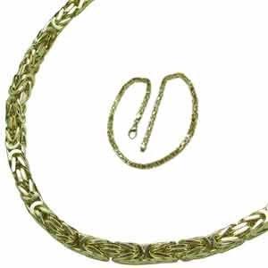 14K Yellow Gold Byzantine Fancy Men's Gold Chain