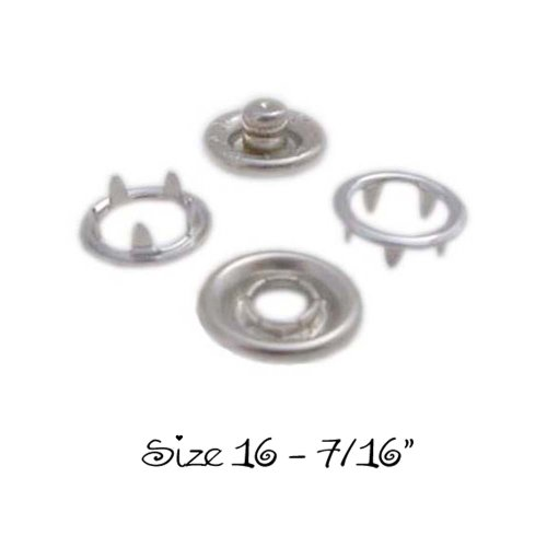 "New 50 SETS - OPEN RING PRONG NO SEW SNAP FASTENERS (200 Pieces) - SIZE 16 (7/16"")"