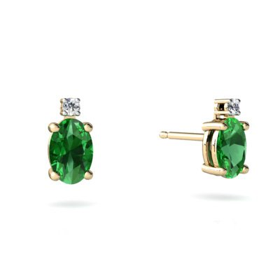 Created Emerald 14ct Yellow Gold Stud Earrings