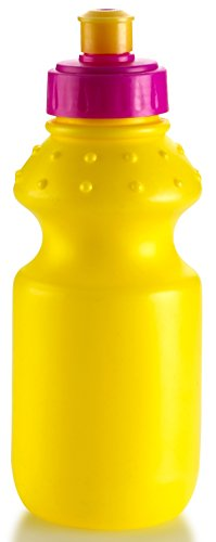 2 Pack Sports Squeeze, Push/Pull Cap Plastic Water Bottle, 9 Oz. Yellow Color - Ideal For Water Bottle For The Gym, Biker Riding, Walking And More - By Kitch N' Wares (Walking Ware compare prices)