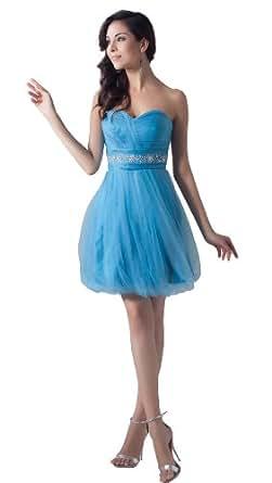 herafa p32317-8 Robes De Bal Style Romantique Sans bretelle Sans manche Perles Délicates Au genou Empire ligne Bleu