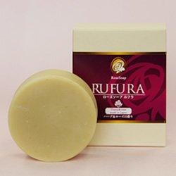 ローズ 洗顔石鹸 RUFURA ルフラ 80g 泡立てネット付 国産 ダマスクローズパウダー配合