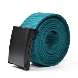 KLOUD City ® Aqua Blue Unisex Canvas Adjustable Military Waist Web Belt / Strap with Slider Buckle with KLOUD City cleaning cloth