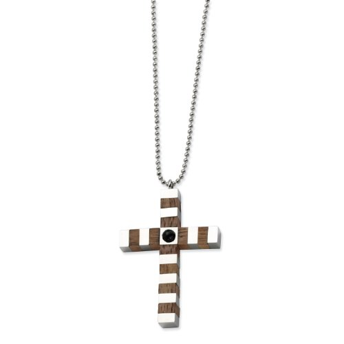 Stainless Steel and Wood Cross Necklace - 22 Inch - JewelryWeb