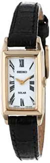 Seiko Womens SUP044 Stainless Steel and Black Leather Strap