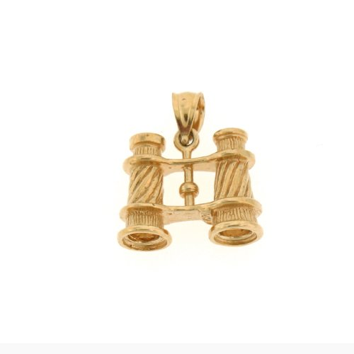 Genuine 14K Yellow Gold 3-D Binoculars Charm Pendant. (Approximate Weight 5 Grams)