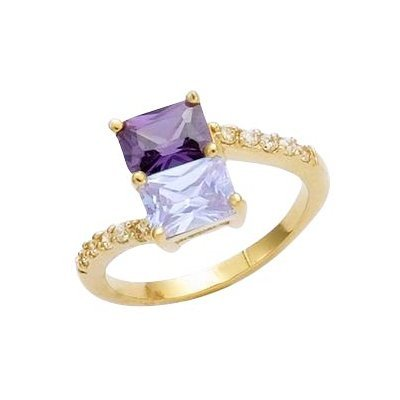 18K Gold Plated Violet & Lavender & Clear Cubic Zirconia