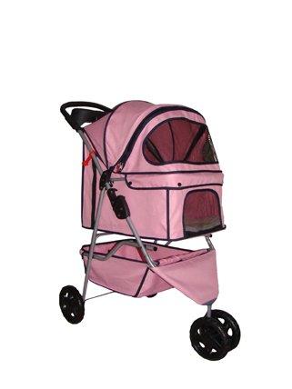 New BestPet Pink 3 Wheels Pet Dog Cat Stroller w/RainCover