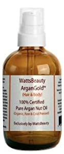 Watts Beauty ArganGoldTM 60ml - 100% Pure Raw, Cold Pressed Argan Nut Oil For Hair & Body - Morocco