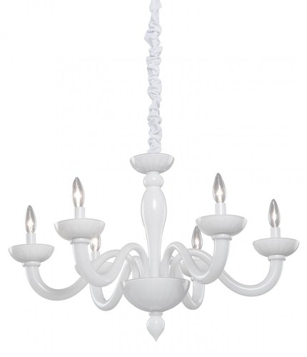 B0083UHP3E Artcraft Lighting CL1806 Milk Glass Six-Light Chandelier, White