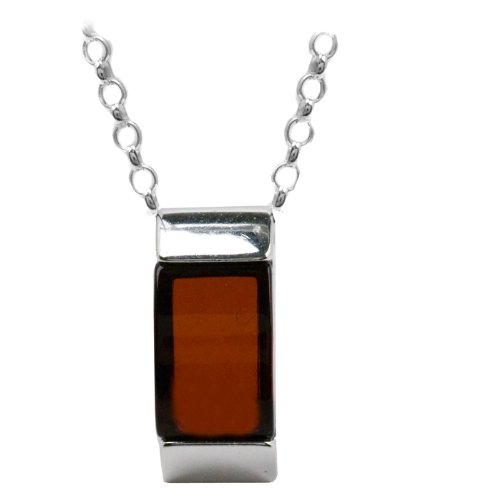 Baltic Cherry Amber and Sterling Silver Small Rectangular Slider, 18