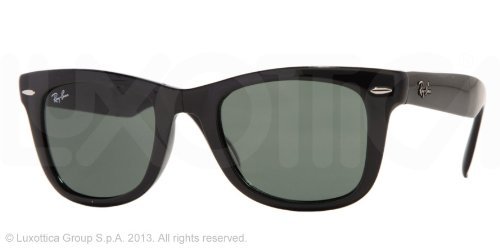Ray-Ban Unisex RB4105 Folding Wayfarer Sunglasses,Black Frame/G15XLT Lens,50 mm
