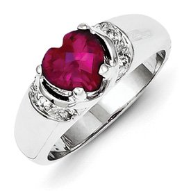 Genuine IceCarats Designer Jewelry Gift Sterling Silver Red Cz Heart Ring Size 6.00