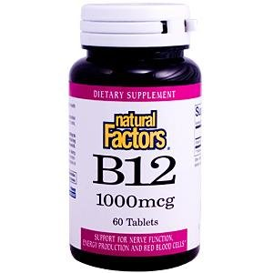 Natural Factors Vitamin B12 Cyanocobalamin 1000Mcg Tablets, 60-Count