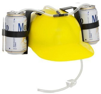 Beer and Soda Guzzler Helmet (Yellow) by EZ Drinker