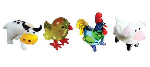 Looking Glass Miniature Collectible - Steer / Chickee / Rooster / Lamb (4-Pack)