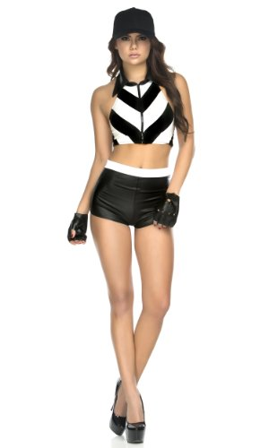 Forplay Women's Petite Foul Play Referee Top Shorts Gloves and Hat