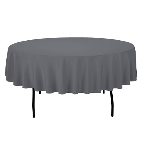 Linentablecloth Round Polyester Tablecloth, 90-Inch, Charcoal front-349506