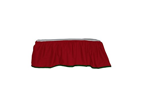 Baby Doll Solid Reversible Crib Dust Ruffle, Red/Green - 1