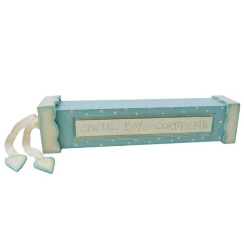 New Baby Boy Blue & Cream Birth Certificate Holder Christening Gift