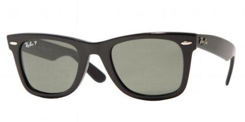 Ray-Ban RB2140 Original Wayfarer Sunglasses, Black frame/Crystal Green Polarized