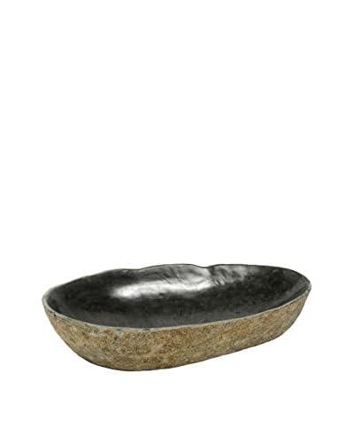 My Spirit Garden Carved Natural Mountain Stone Bowl, Medium, Rust/Charcoal