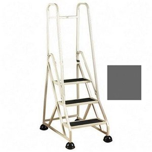 Stop-Step Ladder - 3 Steps with Handrails - Winter Gray