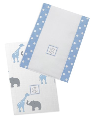 SwaddleDesigns Baby Burpies, Blue Safari Fun (Set of 2 Burp Cloths)