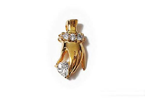 Nadejo P65112 Pendant Gold Plated Hand with oxide of zirconium