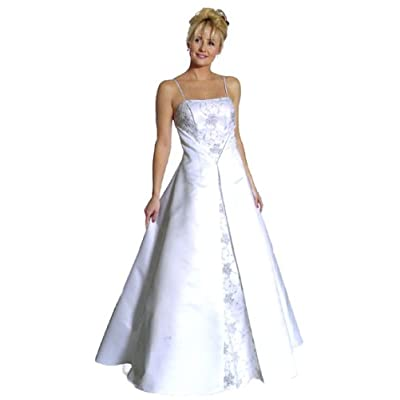 Elegant Spaghetti Straps Caviar Long Slit Front A Line Wedding Gown