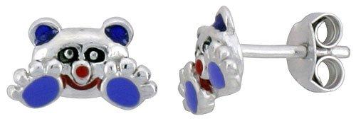 Sterling Silver Child Size Panda Bear Earrings, w/ Black, Lavender & Red Enamel Design, 1/4 inch (6 mm) tall