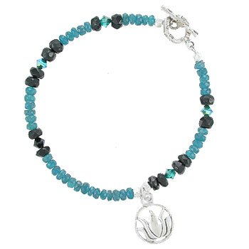 Blue Apatite Gemstone and Black Onyx Beaded Toggle Bracelet with Dangling Lotus Flower Charm in Sterling Silver, 7 1/2