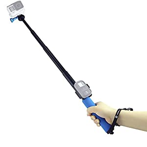 "CamKix Telescopic Pole for GoPro Hero - Adjustable Monopod with Cradle for Wifi remote - 13"" to 38"" Extension - 'Twist and Lock' Easy Extension and Retraction - Tripod Mount Suitable for GoPro Hero 4, 3+, 3, 2, 1 - 1 Aluminum Thumbscrew and 1 Lanyard Incl"