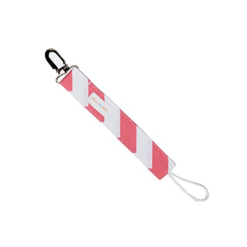 Universal Loop Pacifier Clip in Pink & White Chevron Stripes